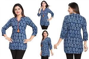 Top-Women-Fashion-Indian-Short-Kurti-Tunic-Blue-Cotton-Kurta-Shirt-Dress-SC1031