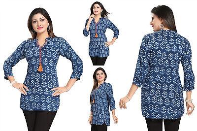 UK STOCK Women Fashion Indian Short Kurti Tunic Kurta Top Shirt Dress 107B