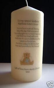Personalised Godson Baptism Christening Poem Candle /& matching card gift