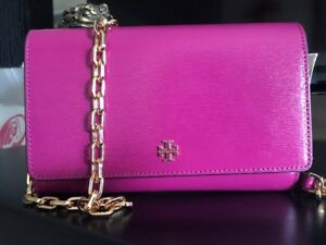 c9901522ed0c Image is loading TORY-BURCH-Robinson-Patent-Leather-Chain-Wallet-Clutch-