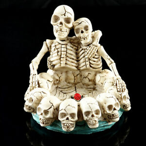 Human Skull Head Ashtray Ash Holder Skull Skeleton Head Resin Statue Art