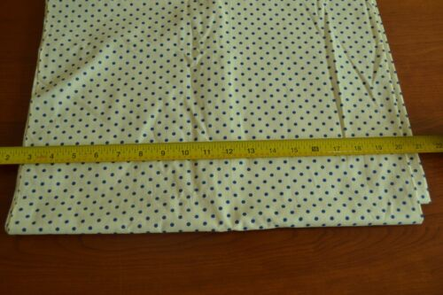 """35/"""",Vintage 1940's-60's  Navy Polka-Dots on Cream Cotton C1989 By-the-Half-Yard"""