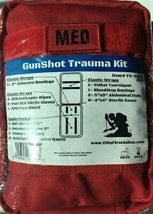 "Elite First Aid Gunshot Trauma Kit 8"" x 6"" x 3.5"" 25 essential items plu Red bag"