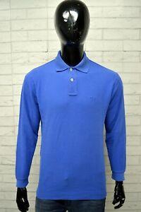 Polo-Uomo-FILA-Taglia-Size-48-Maglia-Shirt-Man-Manica-Lunga-Cotone-Azzurra