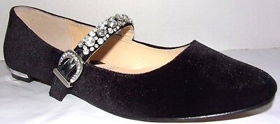 New ADRIENNE VITTADINI ARONNI BLACK VELVET JEWELED STRAP MARY JANE FLATS