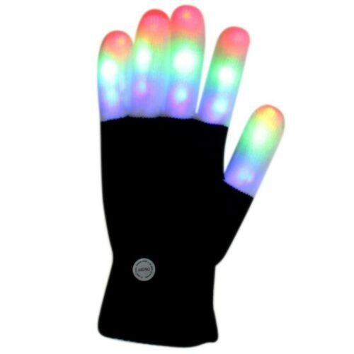 Kids LED Finger Flashing Gloves 7 Modes Light Up Xmas Party Rave Dance Prop Toy