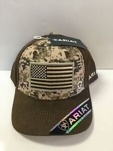 7b037bba38bfe Ariat Mens Hat Baseball Cap Logo Snapback USA Flag Camo 15094156 for ...