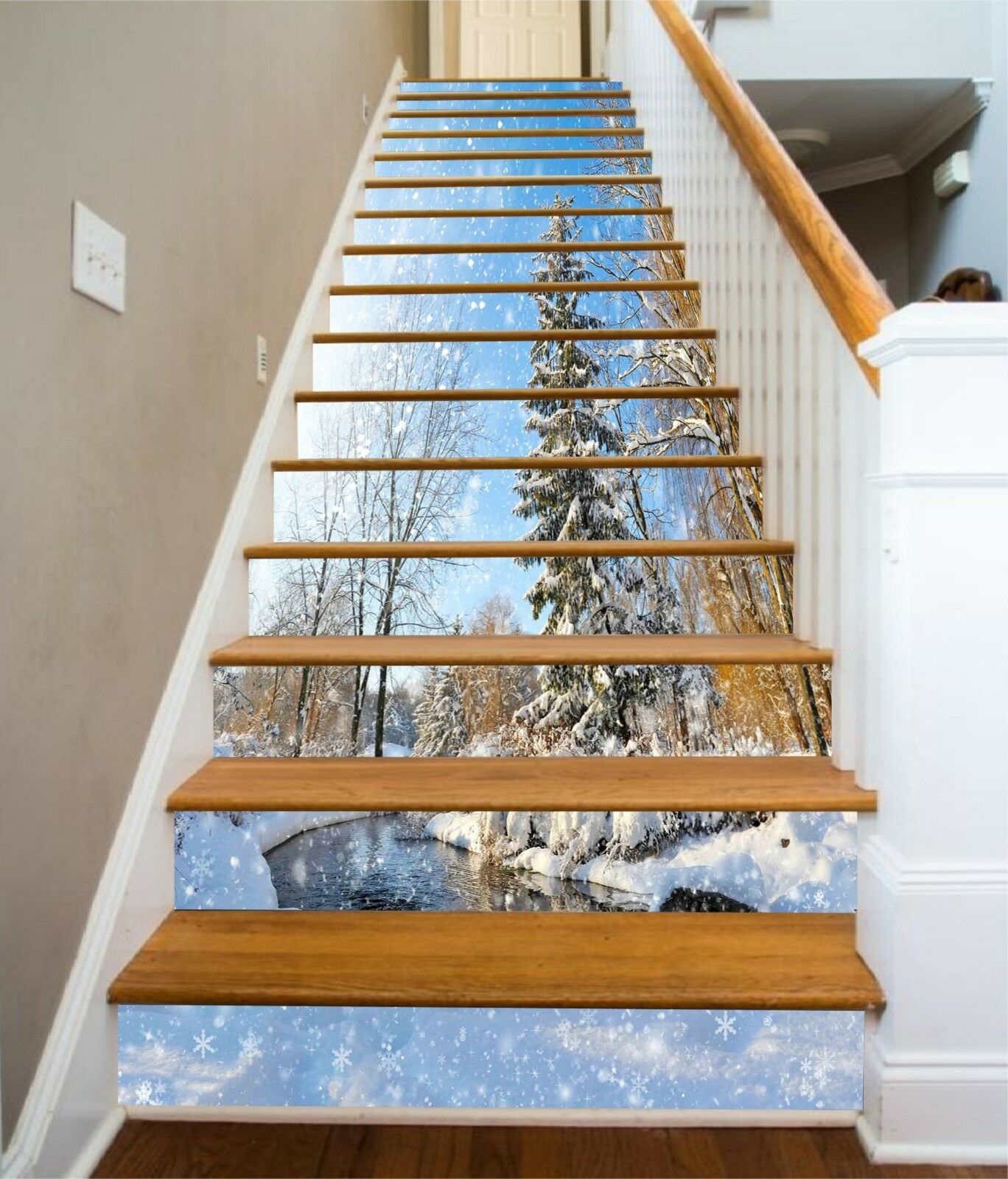 3D Snowing Pine Stair Risers Decoration Photo Mural Vinyl Decal Wallpaper CA