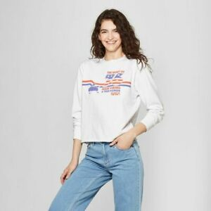 New-NASA-White-Women-039-s-Cropped-Long-Sleeve-Tee-Size-XS-New-with-Tags