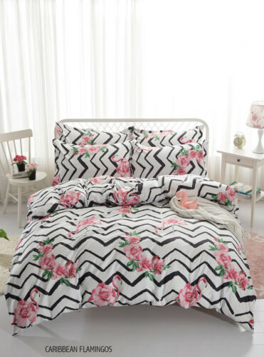 Flower Print Duvet Quilt Cover Complete Pcs Bedding Pillowcase Fitted Sheets Flo