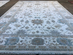 12x18 MUTE WOOL RUG HAND-KNOTTED neutral oriental handmade beige ushak carpet