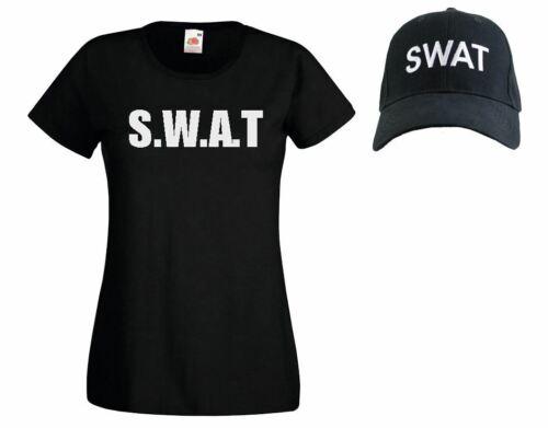 Womens Black SWAT Police Riot Team Special Forces Squad Cap /& T-Shirt Set