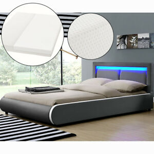 Ambiance Design en Cuir+LED Lit+Sommier+Ma<wbr/>telas Double 180x200 à lattes bed L@@K
