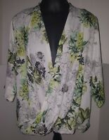 Dorothy Perkins Open Front Chiffon Top Blouse Plus Size 18 Green Floral