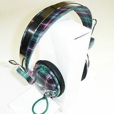 WeSC Bongo Headphones-Black Checked Plaid-MP2 iPod-NEW