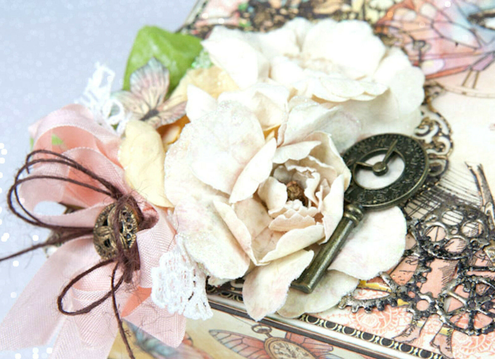 15pc Graphic45 BON VOYAGE /& FRENCH BLUE Rose Bouquet scrapbooking