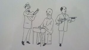 Marcel-Dzama-Count-Dracula-039-s-Cabin-Musicians-Hand-Drawn-Lithograph-Signed-BECK