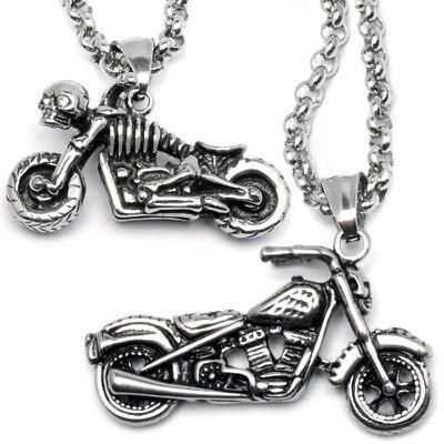 Motorrad Anhänger & Kette Biker Rocker Harley Skelett Totenkopf Outlaw Edelstahl | eBay