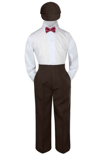 Details about  /4pc Boys Baby Toddler Kids Burgundy Maroon Bow Tie Formal Set Suit Hat S-7