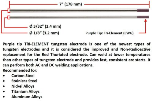"Purple Tip SÜA Tri-Element Tungsten Electrode Mixed Sizes 3//32/"" /& 1//8/"" x 7/"""