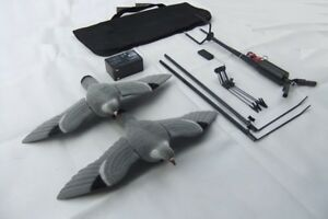 Pigeon-Magnet-Rotary-HUNTING-SET-Two-Flocked-Pigeon-Decoys-12v-Battery
