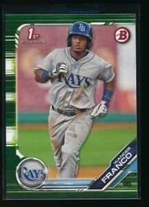 WANDER-FRANCO-2019-1st-Bowman-Paper-Green-Camo-Parallel-100-Rays-Rookie-Card-RC