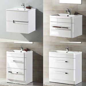 modern white gloss bathroom vanity unit basin sink cabinets furniture