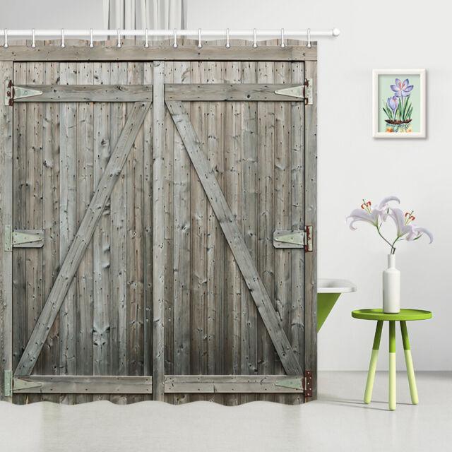 "72/"" Bathroom Decor Waterproof Fabric Shower Curtain Hooks Rustic Wood Barn Door"