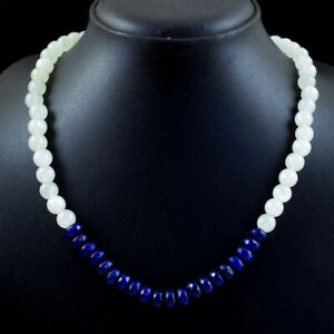 245 Cts Natural Blue Sapphire Round Cut Gemstone Necklace