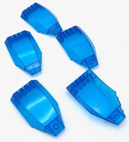 Lego 5 New Trans-Dark Blue Windscreens 10 x 6 x 2 Curved Pieces