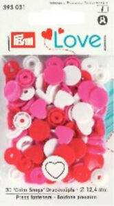 PRYM-LOVE-SNAPS-PRESS-FASTENERS-12-4mm-30SETS-RED-PINK-WHITE-HEARTS