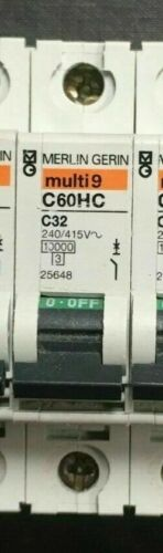MERLIN GERIN Multi 9 C Type MCB Circuit Breaker 6A 16A 32A C6 C16 C32