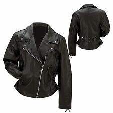 Womans Black Biker Genuine cowhide Leather Motorcycle Riding Jacket