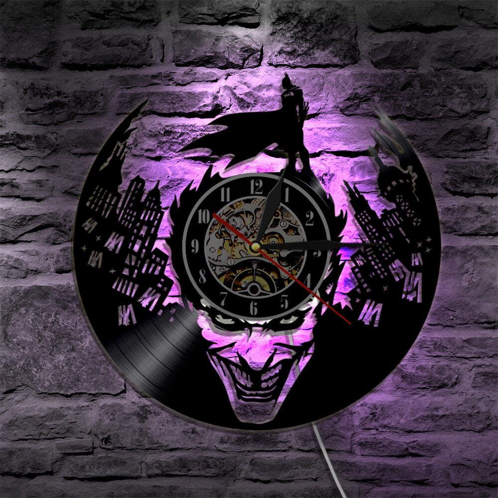 "Joker Batman Wall Clock 3D Creative Art Design Vinyl Home Room Decor Black 12/"""