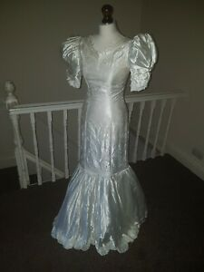Vintage 80s ABLC S White Satin Wedding