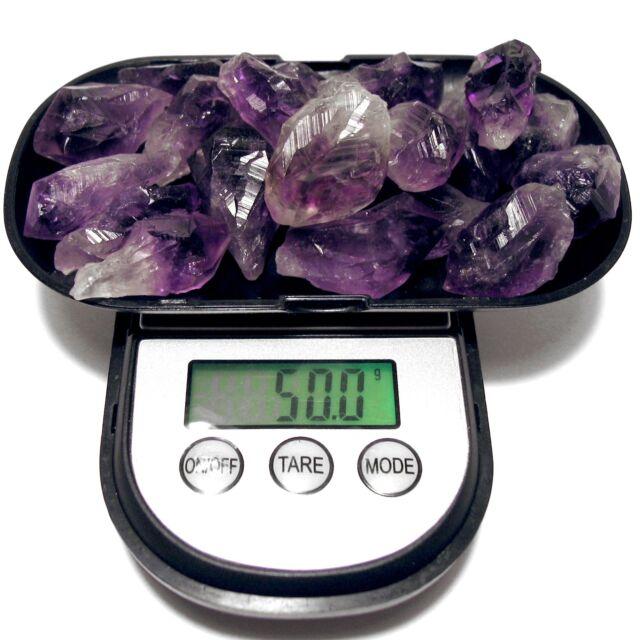 50+ Grams Uruguay AMETHYST Lot Natural Crystal Point in Velvet Bag RANDOM PICK