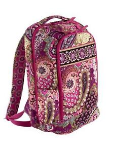 New Vera Bradley Large Laptop Backpack Bag School Very Berry Paisley ... aef3828bb3d4e