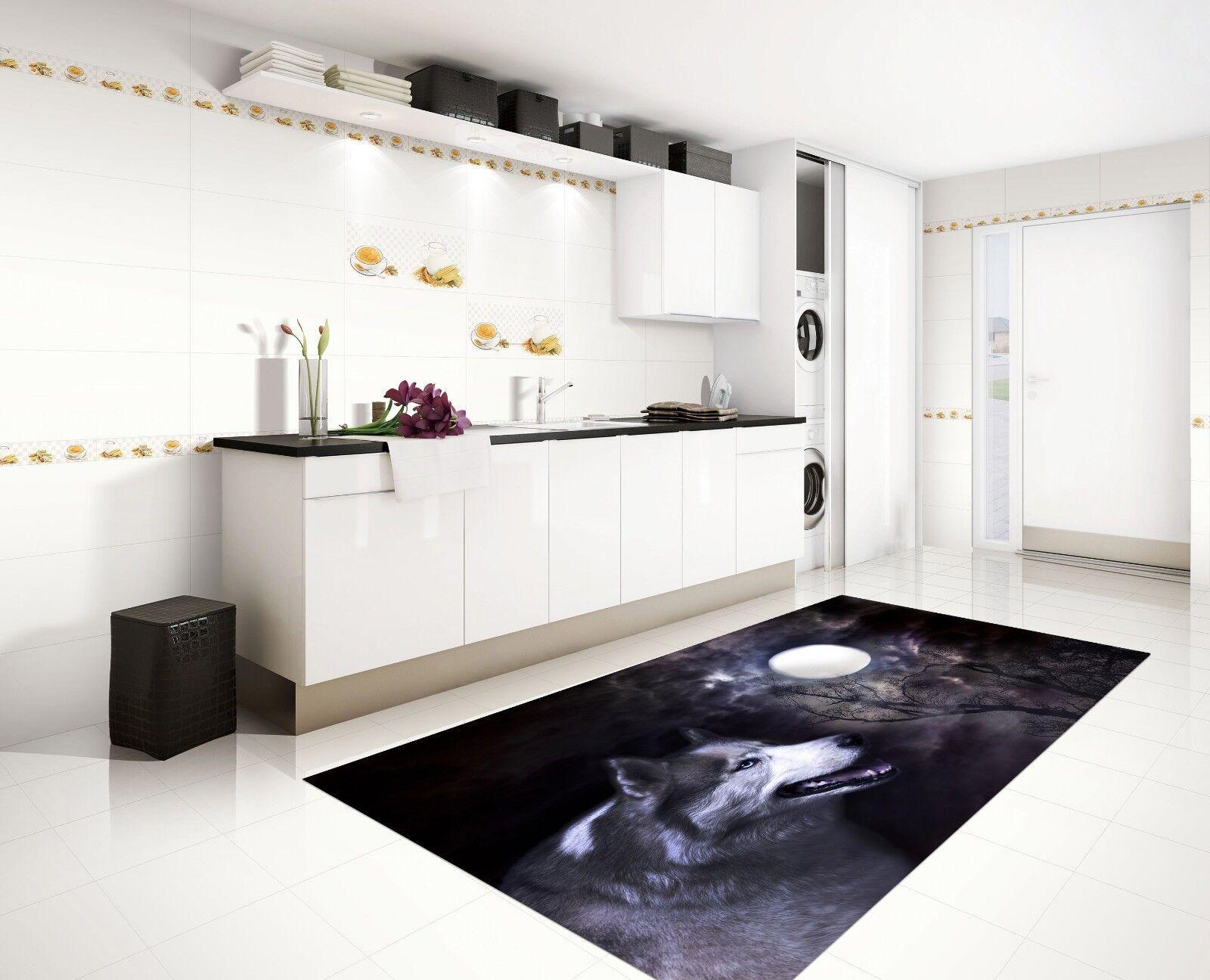 3D Night Moon Wolf 79 Kitchen Mat Floor Murals Wall Print Wall Deco UK Carly