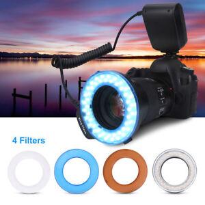 48LED-Macro-Ring-Flash-Luz-Controlador-Filtros-Para-Canon-Sony-Nikon-SLR-Camara