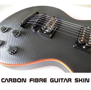 Black Carbon Fibre Vinyl Skin Wrap For Electric Guitar Air