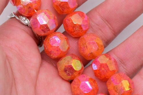 Aurora Borealis Glass Orange Crackle Faceted AB Beads Vintage 12 mm