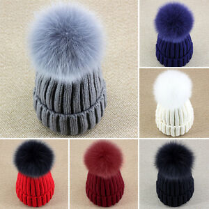 Ideal Design Best Real Fox Fur Detachable Pom Pom Braided Knitted ... af01c9b5a2e