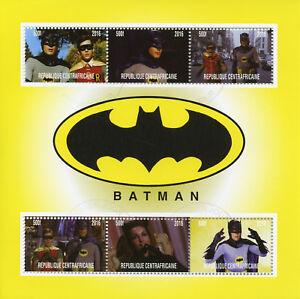 Afrique Centrale Rep 2016 Cto Batman Adam West Robin 6 V M/s Superhéros Timbres-afficher Le Titre D'origine Brillant