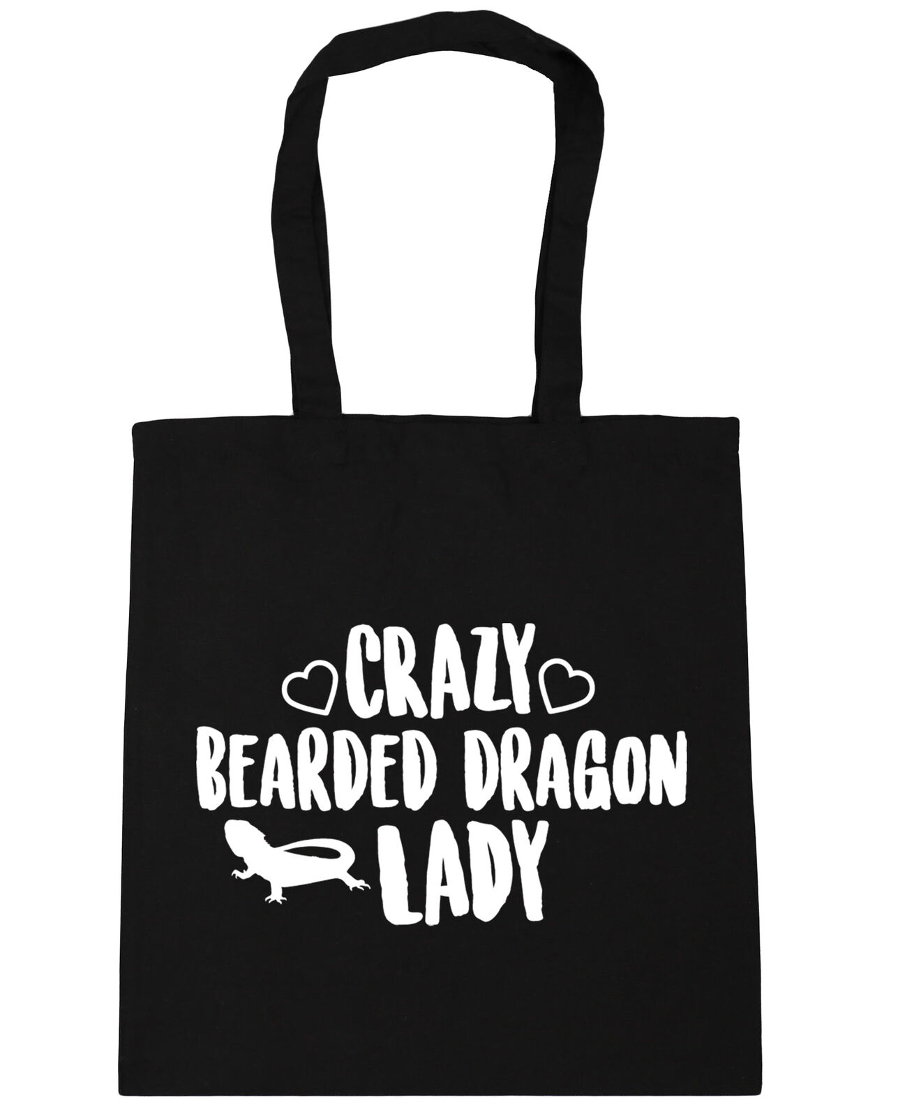 10 litres Crazy bearded dragon lady Tote Shopping Gym Beach Bag 42cm x38cm