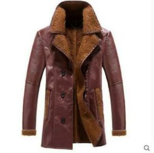 Mens-PU-Leather-Coat-Slim-Jacket-Warm-Lapel-Fur-Lined-Thicken-Long-Parka-VICT