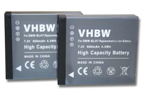 2x Batería 600mAh para Panasonic Lumix DMC-GF7 DMC-GF7K