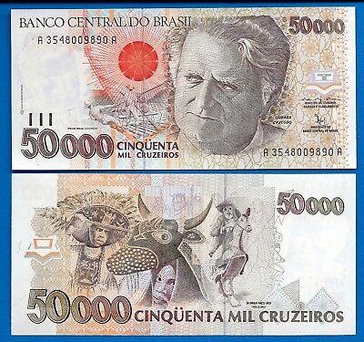 Brazil 50000 Cruzeiros ND 1992 Pick 234 UNC Uncirculated Banknote