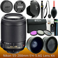 Nikon 55-200mm f/4-5.6G ED IF AF-S DX VR II Nikkor Zoom Lens Accessory Kit