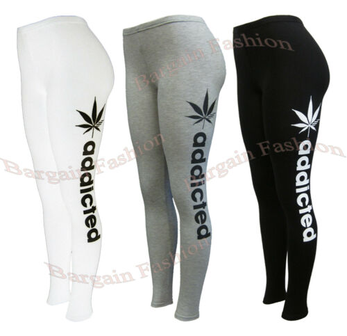 Ladies New Addicted Print Legging Stretch Full Length Womens Legging Size SM-XXL