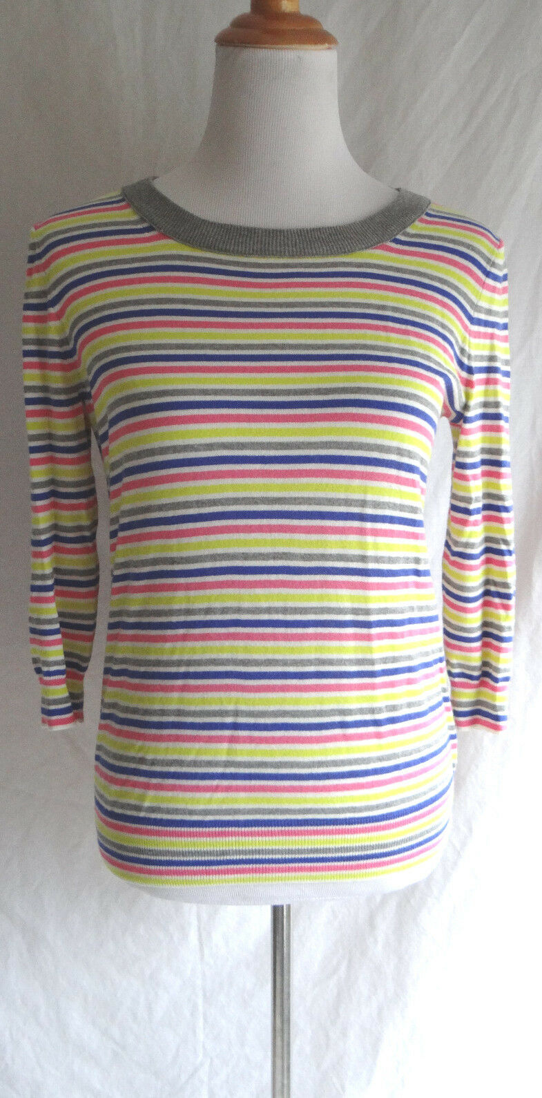 J. Crew Bright colors Striped 3 4 Length Sleeve Lightweight Cotton Sweater Small